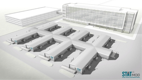 Through the STAAT Mod design, multiple independent modules can connect to each other or to a hospital with segregated spaces for patient care and healthcare workers. The units allow additional capacity to be added or re-deployed to sites where the need is greater. (Photo: Business Wire)
