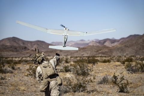 U.S. Marine hand-launches AeroVironment's Puma™ 3 AE unmanned aircraft. U.S. Marine Corps photo by Cpl. Timothy J. Lutz (Photo: Business Wire)