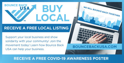 Visit https://BounceBackUSA.com to get started and upload your free local business listing and learn how to receive your free COVID-19 awareness poster. (Photo: Business Wire)