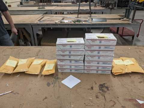 Packages filled with aluminum nose strips ready for distribution. (Photo: Business Wire)