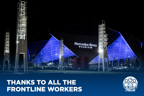 The Mercedes-Benz Stadium in Atlanta, Georgia salutes essential workers in nationwide #LightItBlue initiative during COVID-19 pandemic. (Photo: Business Wire)