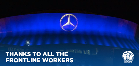 The Mercedes-Benz Superdome in New Orleans, Louisiana lights up in blue to share a 'thank you' to essential workers in nationwide #LightItBlue initiative. (Photo: Business Wire)