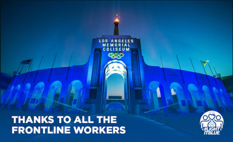 Los Angeles Coliseum in California turns blue to salute essential workers in nationwide #LightItBlue initiative. (Photo: Business Wire)