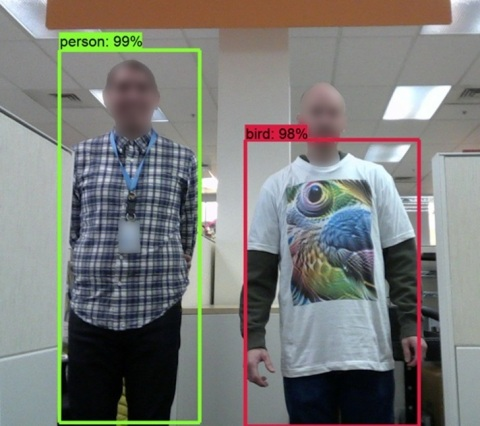Intel Labs members demonstrate an example of artificial intelligence becoming confused by an adversarial T-shirt. (Credit: Intel Corporation)