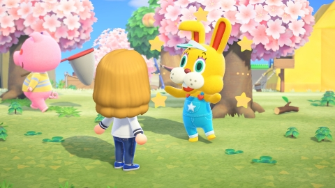 Just in time for the season, the bright Zipper T Bunny has begun visiting islands for a limited time in the Animal Crossing: New Horizons Bunny Day Event. (Photo: Business Wire)