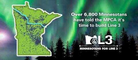 Map of people across Minnesota who submitted comments to the MPCA in support of Line 3. (Graphic: Business Wire)