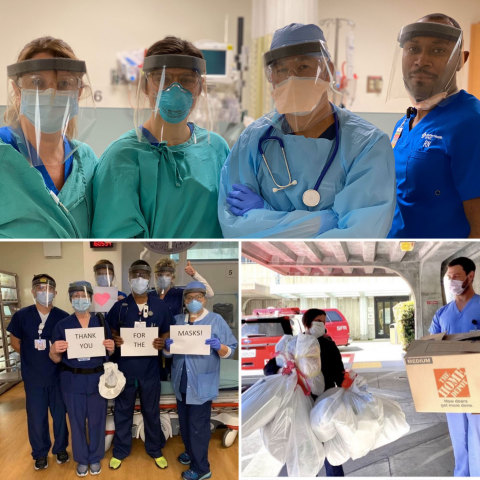 Members of the SAVING FACE group building and donating face shields in the Bay Area to frontline workers battling COVID-19.  (Photo: Business Wire)
