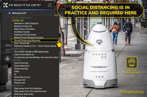 Autonomous Security Robots Deliver Important Messages at Client Locations During Pandemic (Graphic: Business Wire)