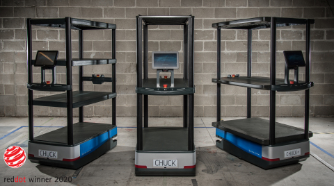 6 River Systems' mobile collaborative robot, Chuck, wins two Red Dot Awards for outstanding design (Photo: Business Wire)