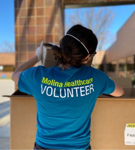 Molina Healthcare employee volunteer delivers personal protective equipment and supplies during ongoing COVID-19 relief efforts. (Photo: Business Wire)