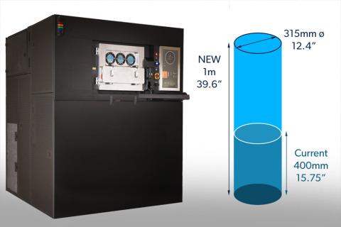 VELO3Dの次世代サファイア産業用3Dプリンターは1メートルの垂直軸を備え、世界で最も高さの高い産業用金属付加製造(AM)マシンです。(写真:ビジネスワイヤ)