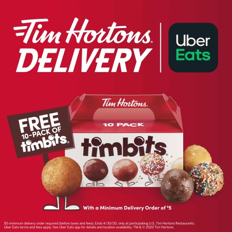 Tim Hortons® U.S. Partners With Uber Eats For First-Ever Delivery Option (Graphic: Business Wire)