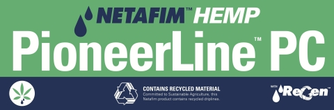 Made with Netafim's ReGen™ sustainable technology that utilizes material from recycled driplines, PioneerLine is available in both a pressure-compensating PioneerLine™ PC and a non-pressure compensating PioneerLine™ X dripline. These driplines are specifically engineered to meet the needs of hemp growers. (Graphic: Business Wire)