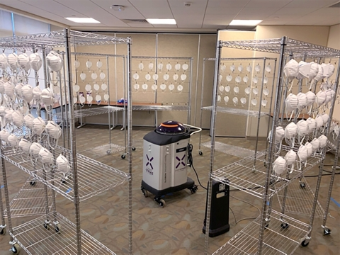 Testing confirms Xenex LightStrike pulsed xenon UV disinfection robots do not damage 3M N95 respirators, even after multiple decontamination cycles. (Photo: Business Wire)