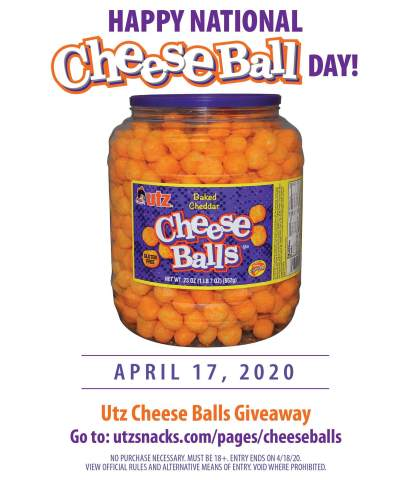 Celebrate National Cheeseball Day! Source: Utz Quality Foods, LLC