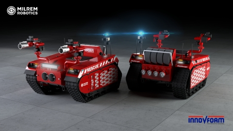 Milrem Robotics' and InnoVfoam's first joint product will feature the fire monitor skid unit Hydra on the Multiscope Rescue. (Photo: Business Wire)