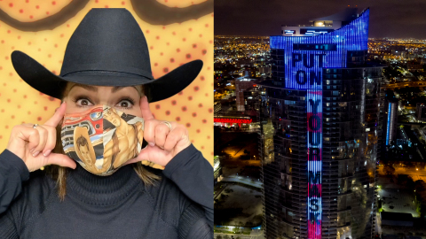 """Gloria Estefan Debuts """"Put on Your Mask"""" COVID-19 Musical Public Service Message at Paramount Miami Worldcenter Tower Lighting (Bryan Glazer/World Satellite Television News)"""