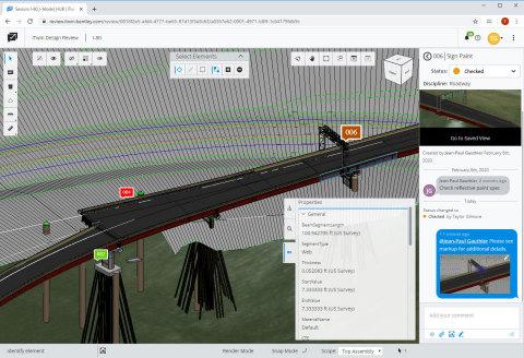 ProjectWise 365は、チームの調整の合理化と問題解決の迅速化を目的とした、Webベースの2D/3Dハイブリッド没入型レビュー環境を実現します。(Graphic: Business Wire)