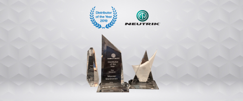 Mouser Electronics has been honored by Neutrik USA with three top awards for 2019 performance. Neutrik USA presented Mouser with the Distributor of the Year — Top Revenue award and Outstanding Performance of the Year award, and named Mouser's Ryan Virostek as Supplier Manager of the Year. (Photo: Business Wire)