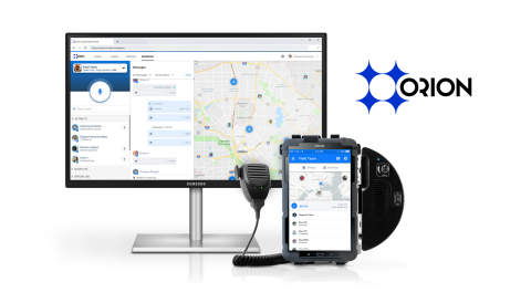 Orion's communication and automation platform for frontline workers provides cloud dispatch, location services, and workflow tools for transportation teams. (Graphic: Business Wire)