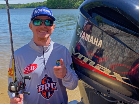 Jake Mims became the first college angler to take home Yamaha Power Pay cash after his 18th place finish during a Collegiate Bass Fishing event on Lake Sam Rayburn. (Photo: Business Wire)