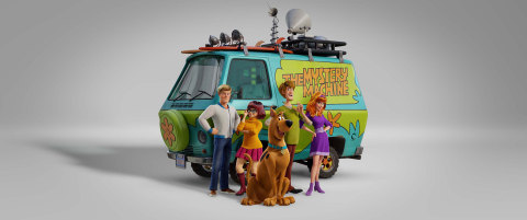 """(L-R) Fred voiced by ZAC EFRON, Velma voiced by GINA RODRIGUEZ, Scooby-Doo voiced by FRANK WELKER, Shaggy voiced by WILL FORTE and Daphne voiced by AMANDA SEYFRIED in the new animated adventure """"SCOOB!"""" from Warner Bros. Pictures and Warner Animation Group. (Courtesy of Warner Bros. Pictures)"""