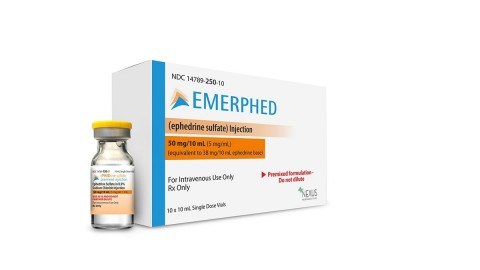 Product photo of Emerphed™ (ephedrine sulfate) Injection. (Photo: Business Wire)