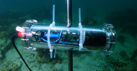 An intelligent underwater video camera to detect, photograph and classify fish that helps Accenture, Intel and Sulubaaï Environmental Foundation make data-driven decisions for restoring the coral reef surrounding the Pangatalan Island in the Philippines. (Photo: Business Wire)
