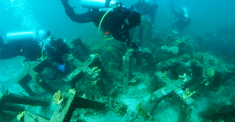 An artificial, concrete reef to provide support for unstable coral fragments underwater is implemented by Accenture, Intel and Sulubaaï Environmental Foundation in the coral reef surrounding the Pangatalan Island in the Philippines. (Photo: Business Wire)