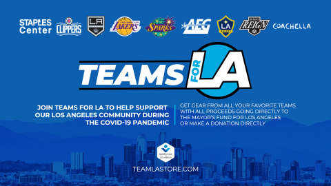 AEG, the LA Clippers, LA Galaxy, LA Kings, Los Angeles Lakers, LA Sparks and Rank + Rally have joined forces to launch the TEAMS FOR LA ON-LINE SUPERSALE to sell logoed team merchandise, as well as classic merchandise from the Coachella Valley Music and Arts Festival and the GRAMMY Awards, to benefit the Mayor's L.A. Emergency COVID-19 Crisis Fund. (Graphic: Business Wire)
