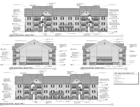 Elevation drawings for Transcontinental Realty Investors' multifamily project Parc at Opelika in Opelika, Alabama. (Graphic: Business Wire)