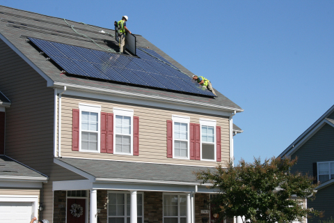 Corvias has installed over 3,500 rooftop and 17,000 ground-mounted solar panels across military housing communities at Aberdeen Proving Ground and Fort Meade in Maryland, Fort Riley in Kansas, and Edwards Air Force Base in California. Solar projects at these four installations generate enough energy to power nearly 3,400 homes for a year. (Photo: Business Wire)