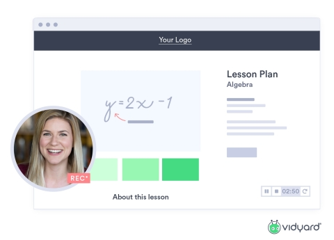 Vidyard provides free access to its online video and virtual teaching tools to help K-12 school districts and teachers take their communications online with private video content during COVID-19. (Graphic: Business Wire)