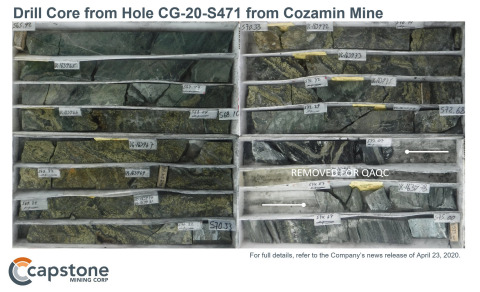 Figure 3 - Figure 3 – Image of Drill Core from Hole CG-20-S471 (7.58% Cu; 113.1 g/t Ag, TW 5.1m). For full details, refer to Capstone's news release of April 23, 2020. (Graphic: Business Wire)