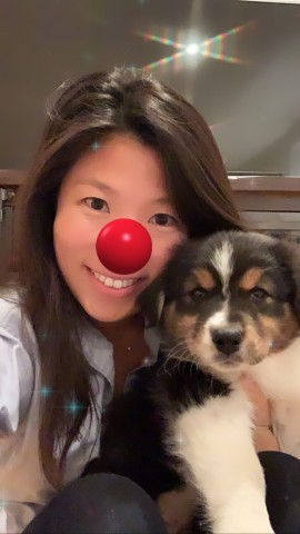 Woman shares selfie with puppy wearing iconic Red Nose digital filter after donating to Red Nose Day at Walgreens.com/RedNoseDay (Photo: Business Wire)