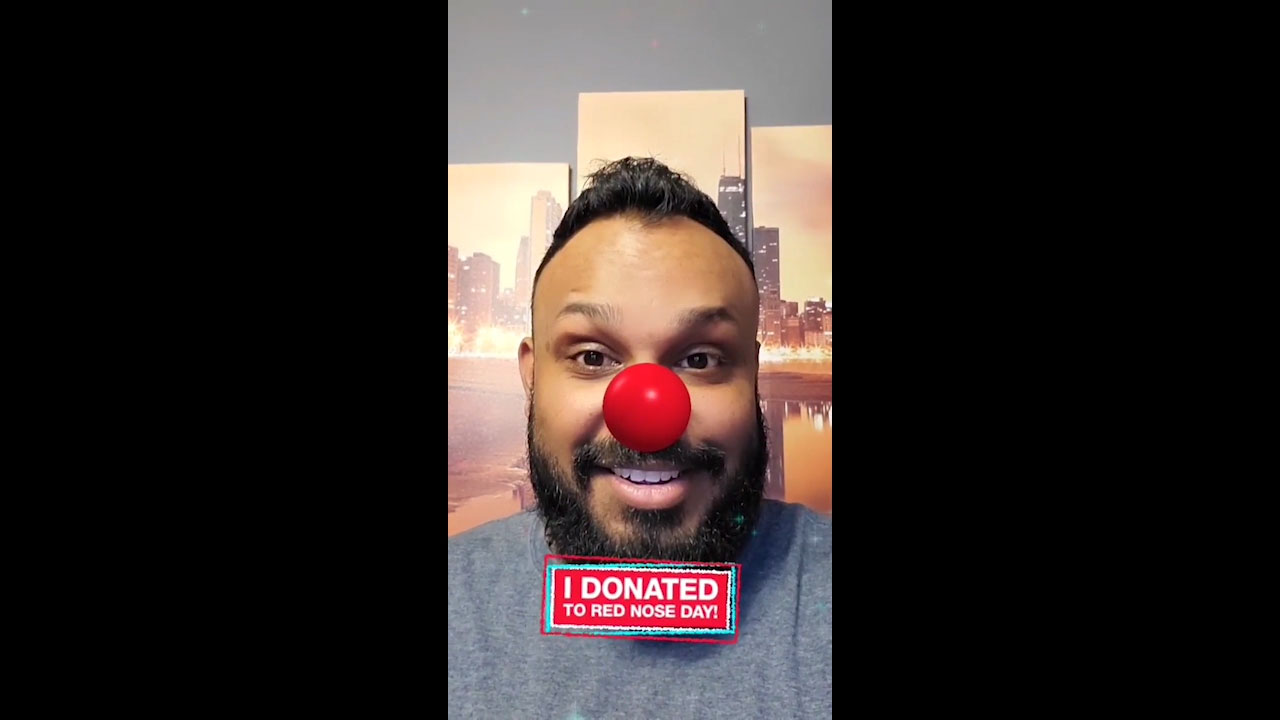 Man shares Red Nose selfie on social media after donating to Red Nose Day at Walgreens.com/RedNoseDay