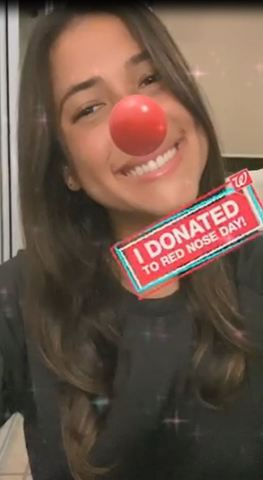 Woman proudly shares selfie wearing iconic Red Nose filter after donating to Red Nose Day (Photo: Business Wire)