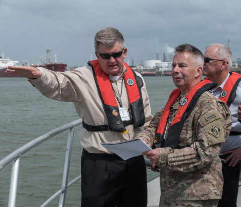 Port Houston Executive Director Roger Guenther points out activity on the Houston Ship Channel to Lieutenant General Todd T. Semonite, Chief of Engineers of the U.S. Army Corps of Engineers, during his tour of the Port of Houston in May 2017. (Photo: Business Wire)