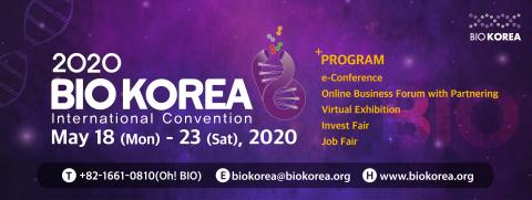 BIO KOREA 2020 se tiendra sous la forme d'une convention en ligne du 18 mai à 9 h 00 au 23 mai à 18 h 00. Considérant la santé et la sécurité de ses participants et la prévention de toute nouvelle diffusion du coronavirus (COVID-19) comme étant de la plus haute importance et prioritaire par rapport à tout le reste, le comité organisateur de BIO KOREA a pris ses dernières mesures pour réaliser une numérisation complète de l'événement. Sous le thème principal « Un nouveau paradigme à l'ère de la science des données », BIO KOREA 2020 se tiendra sous la forme d'une convention en ligne, en maintenant ses 5 principaux programmes constitués d'une conférence, d'un forum commercial, d'une exposition, d'un salon d'investissement et d'une foire aux emplois. Vous pouvez participer sur le site Web officiel de BIO KOREA 2020 : www.biokorea.org. (Graphique : Business Wire)