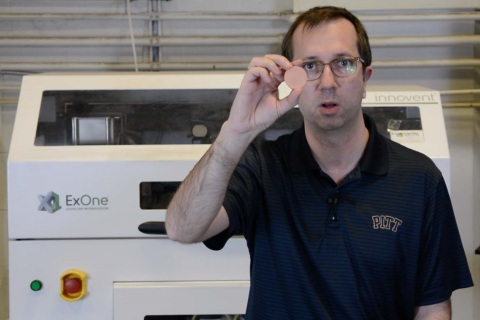 VIDEO: Pitt Associate Prof. Markus Chmielus explains why binder jet 3D printing was critical to develop a fine metal filter that is a reusable, sterilizable solution and can eliminate waste as well as the need to continuously find reusable equipment. https://www.exone.com/ExOne-and-Pitt-Collaboration (Photo: Business Wire)