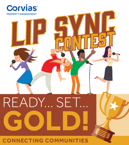 """Corvias Property Management kicks off its first virtual contest for residents to join. The inaugural contest, """"Lip Sync Challenge"""" begins on April 27 and ends on May 6. Residents throughout Corvias' 13 installations will be encouraged to dress up like their favorite artist or band and rock out to their favorite tune for a chance to win an Amazon gift card! (Graphic: Business Wire)"""