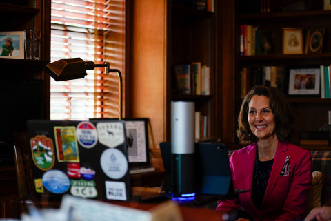 First Lady of Virginia, Pamela Northam, announces Amazon's $3.9 million donation to nonprofit CodeVA to help expand computer science education to underserved communities throughout the state during a virtual visit to computer science students from CodeRVA Regional High School. (Photo: Business Wire)