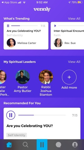 Vennly, the nation's first interfaith spirituality-focused podcast platform, brings together leaders across all faiths to offer life perspectives and practical guidance, including stress, relationships, identity, grief, and living in a world affected by COVID-19. Available now for free download on iOS and Android platforms with a free trial period at $4.99/month with unlimited access to its streaming audio content. (Graphic: Business Wire)