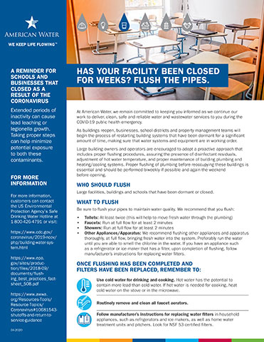 American Water flushing recommendations for buildings and schools following periods of inactivity