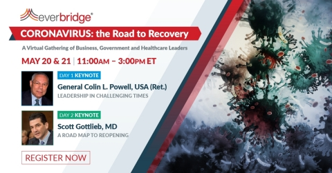"""Everbridge """"Coronavirus: the Road to Recovery"""" virtual leadership summit to be held May 20-21, 2020 (Graphic: Business Wire)"""