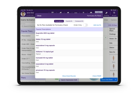 EMA® EHR system on the iPad displaying Rx screen with the PDMP button to access Appriss Health's PMP Gateway. (Photo: Business Wire)