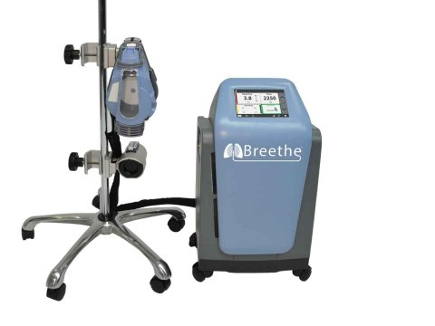 The Breethe system has an integrated oxygen concentrator removing the need for bulky, heavy tanks and multiple wires enabling easier patient mobility. (Photo: Business Wire)