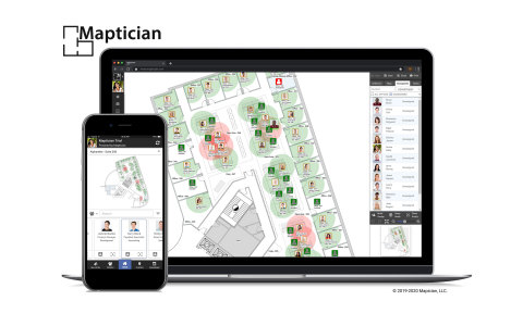 Maptician Flex™ is a social-distancing aware, cloud-based workplace management platform, designed to help organizations reopen their offices safely, and to operate and optimize them in a Post-COVID-19 environment. (Photo: Business Wire)