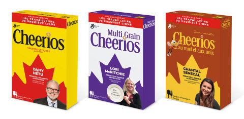 Cheerios is celebrating frontline foodbank heroes with Cheer on the Frontlines commemorative packaging. These boxes will not be available in stores. (Photo: Business Wire)