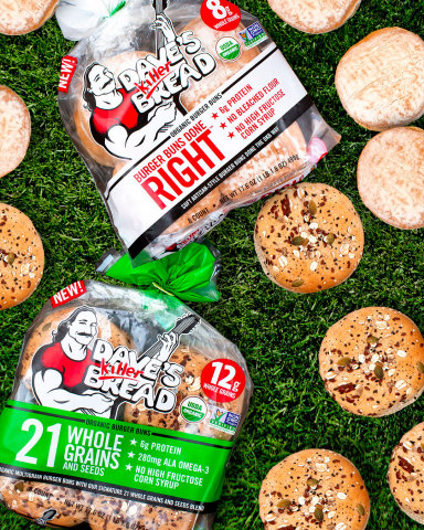 Dave's Killer Bread (DKB) brings its whole grain and protein game to the grill with the launch of organic burger buns. (Photo: Business Wire)